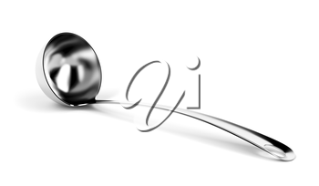 Silver ladle on white background