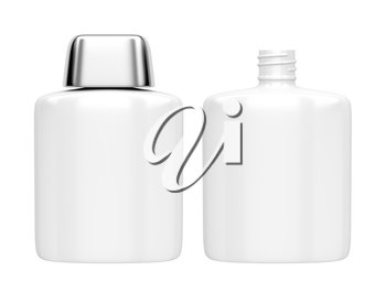 Open and closed containers for aftershave lotion or perfume, isolated on white