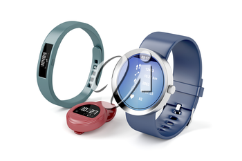 Different types of fitness trackers on white background