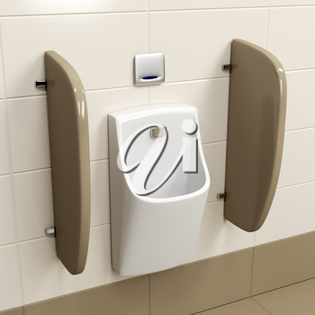Modern sensor operated urinal on brown tiles in the public restroom