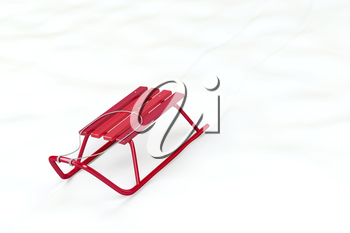Metal red sledge in the snow