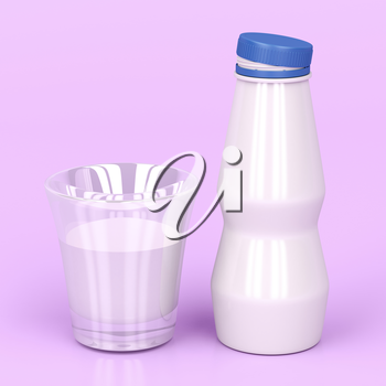 Plastic bottle and a cup of milk on shiny pink background