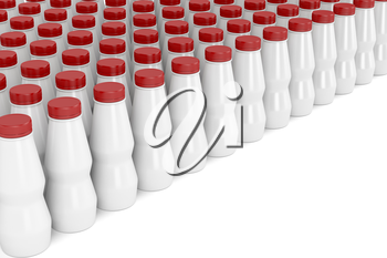 Multiple rows with plastic bottles for yogurt, milk or other liquids