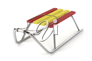 Metal sledge on white background