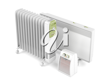 Fan, oil-filled and convection electric heaters on white background