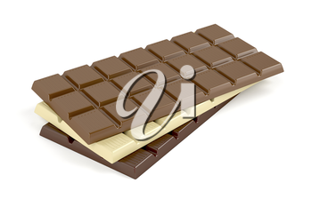 White, brown and dark chocolate bars on white background