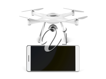 Smartphone with blank display and drone on white background