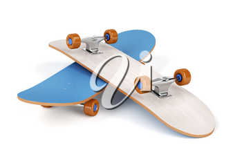 Two skateboards on white background