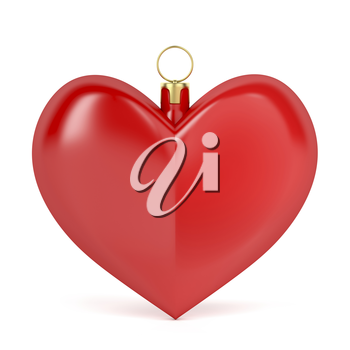Heart shaped Christmas ornament on white background