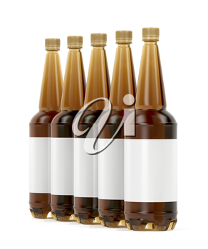 Row of five plastic beer bottles with blank labels