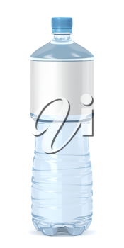 Water bottle with blank label on white background