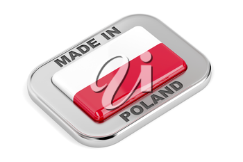 Made in Poland shiny badge on white background
