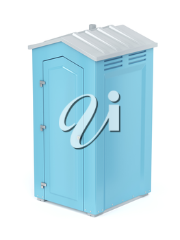 Portable chemical toilet on white background