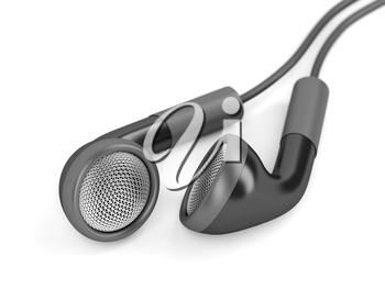 Black wired earphones on white background, shallow DOF