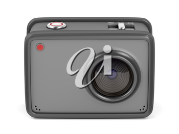 Action camera on white background, front view