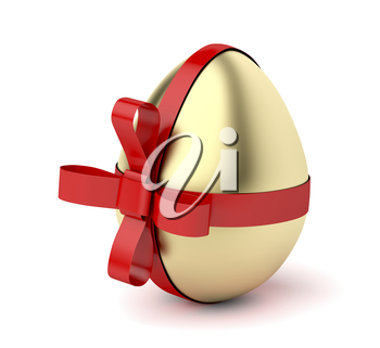 Gold egg with red ribbon, Easter decoration