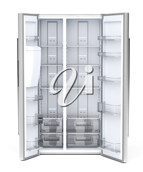 Front view of empty side-by-side refrigerator on white background
