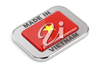 Made in Vietnam, shiny silver badge with the flag of Vietnam