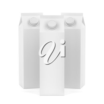 Group of white blank containers for juice or milk