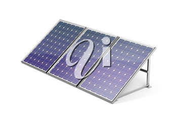 Solar panels on white background