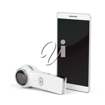 360 degree camera and smartphone with blank display on white background