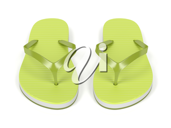 Green flip flops on white background