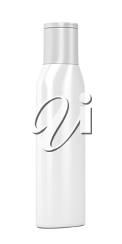 White plastic bottle for cosmetic products, 3D illustration