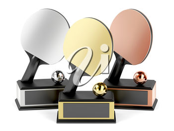 Gold, silver and bronze trophies for table tennis on white background