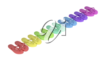 Multicolored flip flops on white background