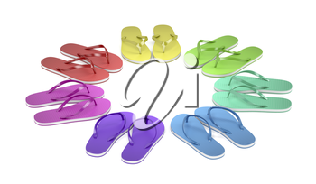 Colorful flip flops on white background
