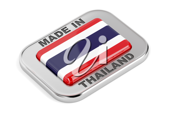 Made in Thailand, shiny silver badge on white background