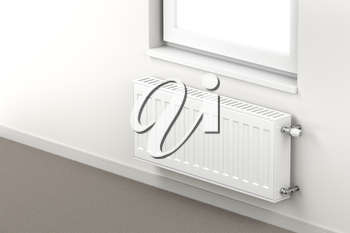 Central heating radiator in the room mounted under the window
