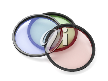 Colorful camera filters on white background