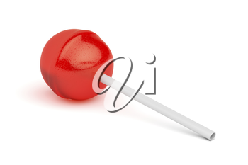 Red lollipop on white background