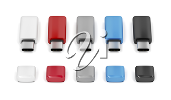 Five usb-c flash sticks with different colors