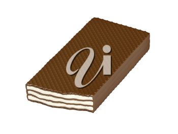 Chocolate wafer with vanilla or milk filling isolated on white background