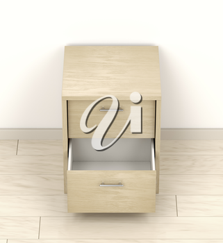 Wood nightstand with open drawer