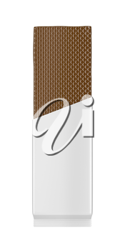 Front view of chocolate wafer in white foil, isolated on white background