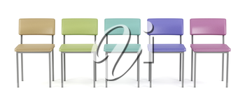 Front view of colorful chairs in a row