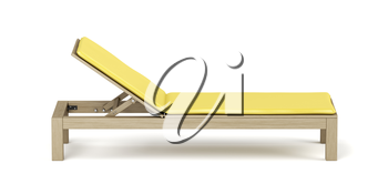 Wooden beach lounger with yellow mattress on white background