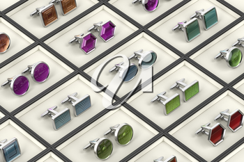 Rows with different designs of cufflinks