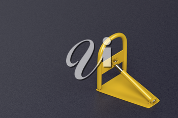 Yellow parking lock on the asphalt, 3D illustration