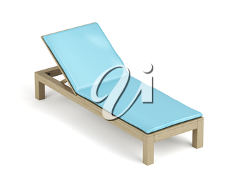 Wooden sun lounger with mattress on white background