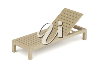 Wooden sun lounger on white background