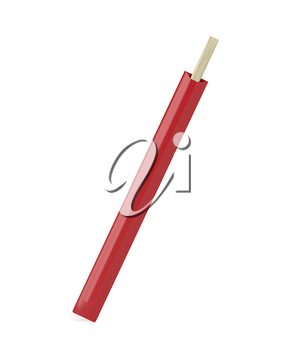 Disposable wooden chopsticks on white background