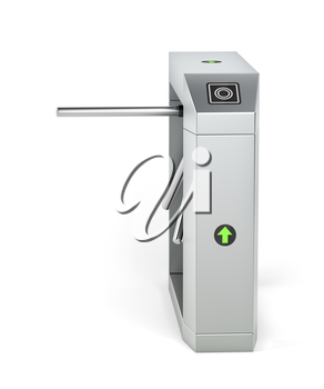 Automatic turnstile on white background