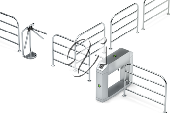 Entry and exit turnstiles on white background
