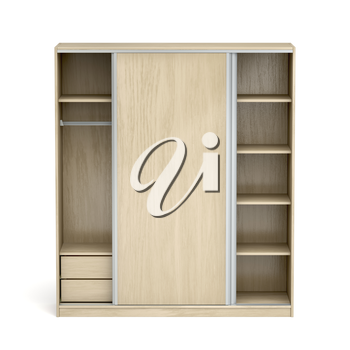 Front view of an empty wood wardrobe with sliding doors on white background