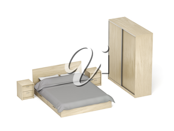 Wooden furniture for bedroom on white background. Bed, nightstands and sliding wardrobe.