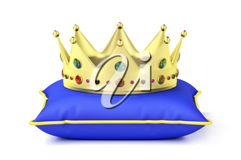 Royal gold crown on blue pillow, front view